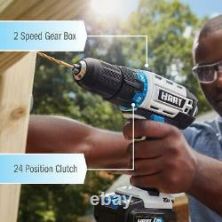 20 Volt Cordless Drill Set, Impact, Saw 4 Tool Combo Kit 2 Lithium-Ion Batteries