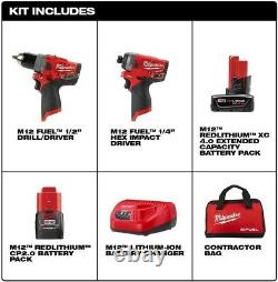 2596-22 MILWAUKEE M12 Fuel Lithium-Ion Cordless Drill, Impact Driver Combo Kit