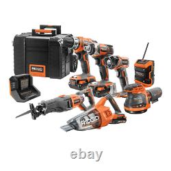 7-Tool Cordless Combo Kit 18V with Rolling Keter Case 3-piece Batteries & Charger