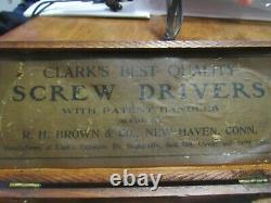 Antique Clark's R. H. Brown Screw Driver Set with BITS Wooden Box 19th excepti
