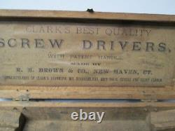 Antique Clark's R. H. Brown Screw Driver Set with Wooden Box RARE