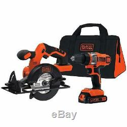 BLACK and DECKER Saw Drill Driver Combo Set Carry Bag 20v Cordless Electric Tool