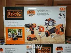 Black + Decker 20V MAX Cordless Combo Kit (4-Tool) with (2) Batteries & Charger