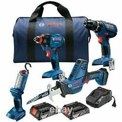 Bosch GXL18V-496B22 18V 4-Tool Combo Kit -Drill/Driver, Impact, Saw, LED Light +