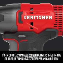 CRAFTSMAN Cordless Drill V20 Lithium Combo Kit, 4 Tool (CMCK401D2)