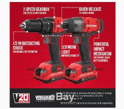 CRAFTSMAN V20 2-Tool 20-Volt Max Power Tool Combo Kit Bundle with Soft Case