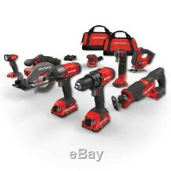 CRAFTSMAN V20 8-Tool 20-Volt Max Power Tool Combo Kit with Soft Case Charger In