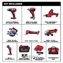 Cordless Power Tool Milwaukee 7 TOOL Set Kit Bag Charger 2 Batteries M18 V NEW