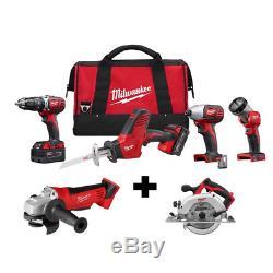 Cordless Power Tool Set Kit 6 Tool 2 Ah Batteries Charger Bags M18 Milwaukee NEW
