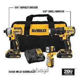 DEWALT 3-Tool 20V MAX LI-ION Cordless Brushless Drill/Driver BundleNew