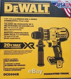 DEWALT Dc996b 20V XR BRUSHLESS CORDLESS 3-SPEED HAMMER DRILL/DRIVER TOOL NEW