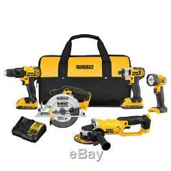 DeWALT DCK521D2 20-Volt 5-Tool Drill/Driver/SawithGrinder and Light Combo Kit