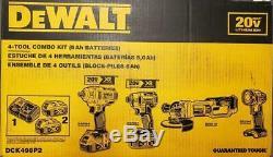 DeWalt DCK498P2 20 Volt 4-Tool 5.0Ah Cordless DCF894 DCF887 DCG412 Combo Kit