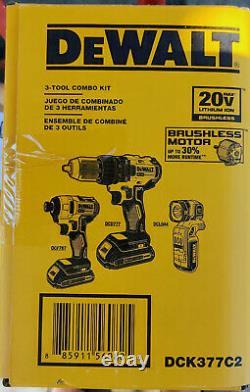 DeWalt Drill, Impact Driver & Light 3 Tool v20 Brushless Set. 2 Batteries & Case