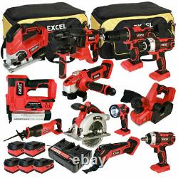 Excel 18V 12 Piece Power Tool Kit with 5 x 5.0Ah Batteries Charger & Bag EXL5062