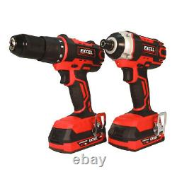 Excel 18V Cordless 3 Piece Power Tool Kit + 3 x Batteries Charger & Case EXL5145
