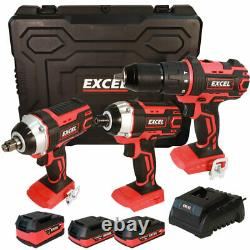 Excel 18V Cordless 3 Piece Power Tool Kit + 3 x Batteries Charger & Case EXL5146