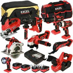 Excel EXL5056 18V 9 Piece Tool Kit with 4 x 5.0Ah Batteries & Charger in Bag