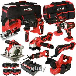 Excel EXL5057 18V 9 Piece Cordless Power Tool Kit 4 x Batteries, Charger & Bag