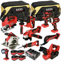 Excel EXL5060 18V 10 Piece Power Tool Kit with 4 x 5.0Ah Batteries Charger & Bag
