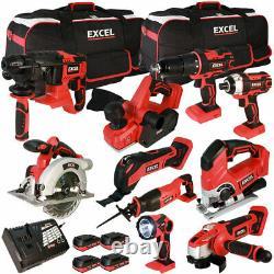 Excel EXL5151 18V 10 Piece Power Tool Kit 4 x 2.0Ah Batteries Smart Charger Bag
