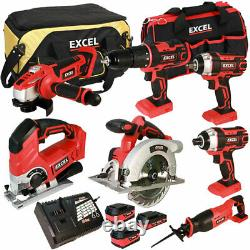 Excel EXL5159 18V 7 Piece Power Tool Kit with 3 x Batteries Smart Charger & Bag