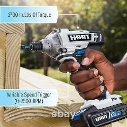HART 20-Volt Cordless 4-Tool Combo Set 1.5Ah Lithium-Ion Batteries Drill Driver