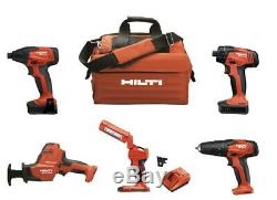 HILTI 5 Batteries + 5 12v Combo Tools Drills Drill Impact Driver Saw Bag Charger