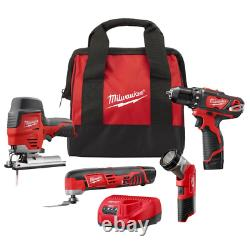 M12 12-Volt Lithium-Ion Cordless Combo Tool Kit (4-Tool) with Two 1.5 Ah Batteri