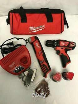 MILWAUKEE 2495-22 12V 2 tool Combo Kit 2426-20 and 2407-20 LN