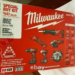 MILWAUKEE M18 6-Tool Combo Kit (2697-26) with Batteries, Charger