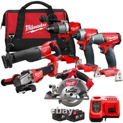 Milwaukee 18V 6 Piece Power Tool Kit with 2 x 5.0Ah Batteries Charger & Bag