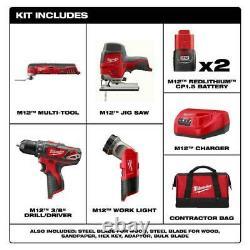 Milwaukee 2407-22C M12 12V Cordless 4 Tool Combo Kit New