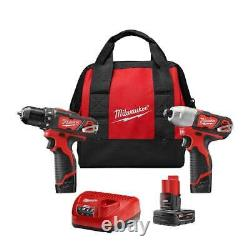 Milwaukee 2494-22B M12 12V 2-Tool Drill Driver and Impact Driver Combo Kit