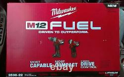 Milwaukee 2598-22 M12 FUEL 12V 2-Tool Hammer Drill and Impact Driver Combo Kit