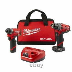 Milwaukee 2598-22 M12 FUEL Brushless Cordless Drill Impact Driver Kit (2-Tool)