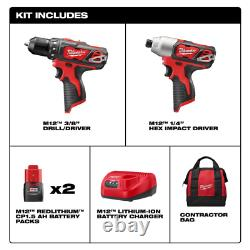 Milwaukee Drill Impact Driver Combo Kit Tool Cordless w Bit Set Li-Ion 12Volt