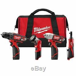 Milwaukee Electric Tool 2493-24 M12 Lithium Ion 4 Piece Ratchet Drill Impact And