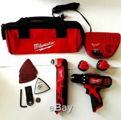 Milwaukee M12 12V Cordless Drill/Driver, Multi-Tool. (2)Battery, Charger, Bag NEW
