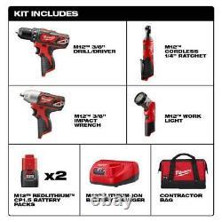Milwaukee M12 12-Volt Lithium-Ion Cordless Combo Tool Kit 2493-24