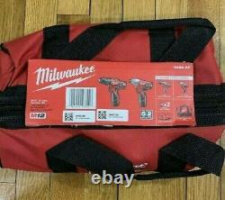 Milwaukee M12 2-tool Combo Kit 3/8 Drill Driver 1/4 Hex Impact W Batteries