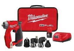 Milwaukee M12 4-in-1 3/8 Drill Driver With 4 Tool Heads +2 Batt + Charger 2505-22