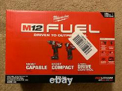 Milwaukee M12 FUEL 2-Tool Combo Kit with Batt & Charger 2598-22 BRAND NEW