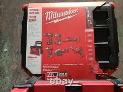 Milwaukee M18 18V 6 Tool Combo Kit with 2 Batteries Packout Rolling Box #2698-26PO