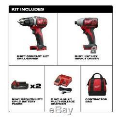 Milwaukee M18 Li-Ion Compact Cordless Power Tool Set 2691-22 BRAND NEW NO BOX