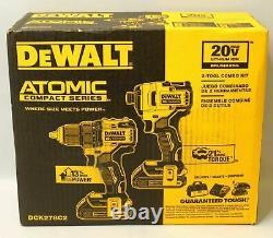 NEW DeWALT DCK278C2 20V MAX BRUSHLESS CORDLESS DRILL & IMPACT 2-TOOL COMBO KIT