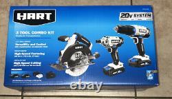 NEW SEALED Hart 3 Tool 20V Combo Kit HPCK322B Drill Impact Driver Circular Saw