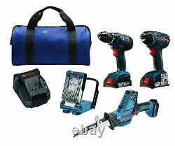 New Bosch 18V 4-Tool Kit Compact Drill Impact Driver Reciprocating Saw LED Light