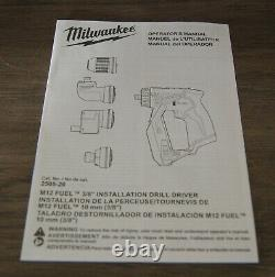 New! Milwaukee M12 Fuel 12V Installation Drill/Driver Set (2505-22) Tool Only