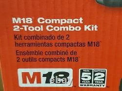 New Milwaukee M18 2691-22 Compact 2-Tool Combo Kit